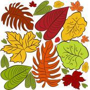 cluster of leaves - stock illustration