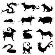 chinese astrology animal silhouettes - stock illustration