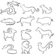 chinese astrology animals - stock illustration