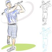 Golf player swings Piirros