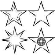 flourish star set - stock illustration