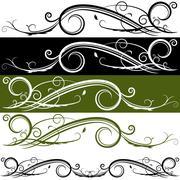 flourish banner - stock illustration