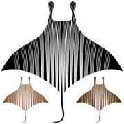 Manta ray drawing Stock Illustration