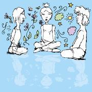 meditating people - stock illustration