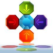octagon chart - stock illustration
