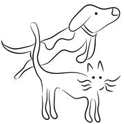 Abstract cat and dog line art Stock Illustration