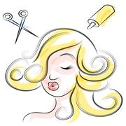 Woman at beauty salon Stock Illustration