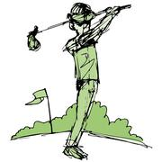 Golfer swinging club Stock Illustration