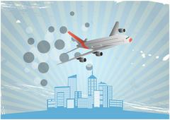 illustration of modern airplane with blue city - stock illustration