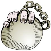 Stock Illustration of wedding ring ball and chain