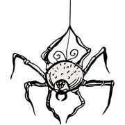 Spider hanging on thread Stock Illustration