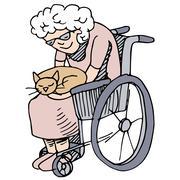 elderly cat lover - stock illustration