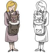 Woman with pet carrier Stock Illustration