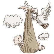 Stork delivering baby Stock Illustration