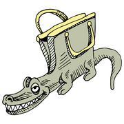 alligator handbag - stock illustration