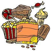 Junk food snacks Stock Illustration