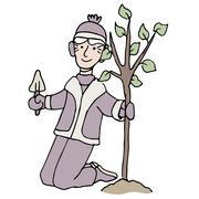 Winter tree planting Stock Illustration