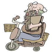 Senior riding scooter with groceries Stock Illustration