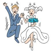 marriage leap - stock illustration