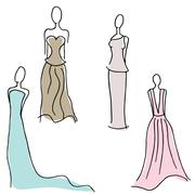 formal gown designs - stock illustration