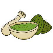 Bowl with avocado and guacamole Stock Illustration