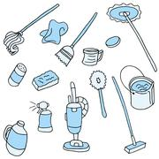 Household cleaning items Stock Illustration