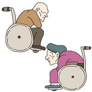Disabled elderly people Stock Illustration