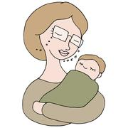 woman holding baby - stock illustration