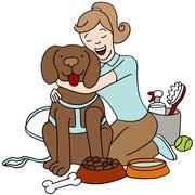 Taking care of dog Stock Illustration