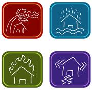 House damage icons Stock Illustration