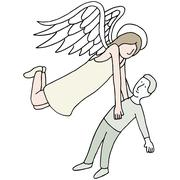 angel carrying spirit - stock illustration