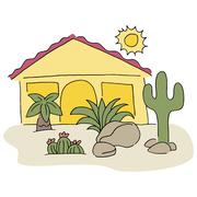home with desert landscaping - stock illustration