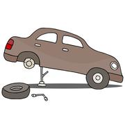 fixing flat tire - stock illustration