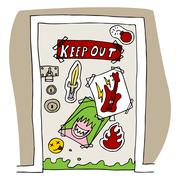 teenager keep out signs - stock illustration