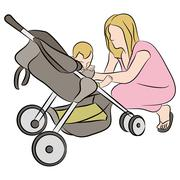 Mom with baby in stroller Stock Illustration