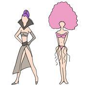 nightclub girls - stock illustration