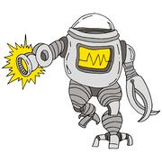 Robot attacking Stock Illustration