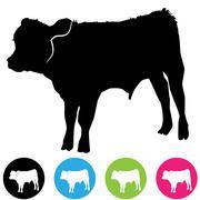 calf silhouette - stock illustration
