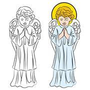 Praying angel Stock Illustration