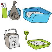 Cat litter objects Stock Illustration