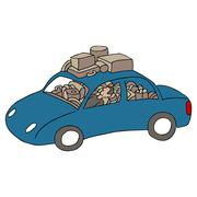Man living in car Stock Illustration