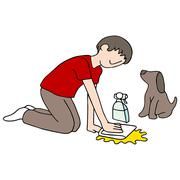 cleaning dog mess - stock illustration