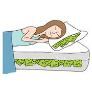Sleeping on bed of cash Stock Illustration