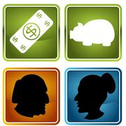 retirement icons - stock illustration