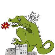 monster destroying city - stock illustration