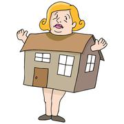 Woman big as house Stock Illustration