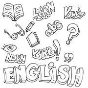english symbols and learning items - stock illustration