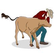 cowboy wrangling a calf - stock illustration