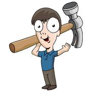 hammer repairman - stock illustration