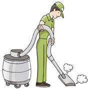 Man using wet dry vacuum Stock Illustration